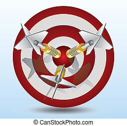 three dart pin in a dart target - Red and white target with...