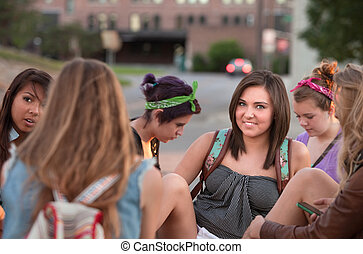 Smiling Teen With Friends on Campus - Smiling teenage...