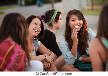 Fascinated Asian Teen with Friends - Interested female...