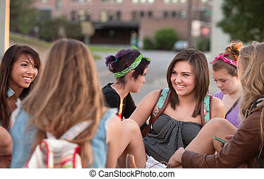 Young Woman Laughing with Friends