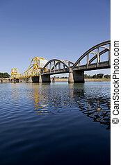 Rural Raising Cantilever Bridge - Rural yellow, raising...