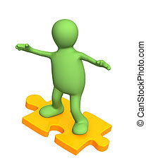3d person puppet sliding on slice puzzle Object over white