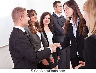 Businessman And Businesswoman Shaking Hands In A Meeting