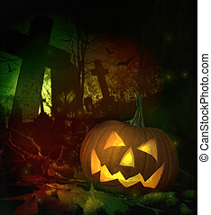 Halloween pumpkin in spooky cemetery
