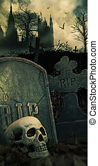 Night scene in graveyard with skull and graves - Scary night...
