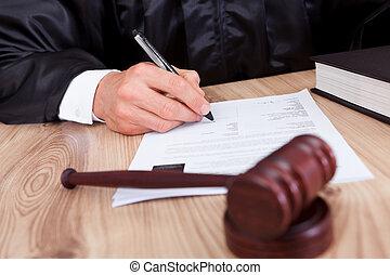 macho, juez, en, courtroom
