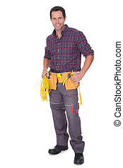 Electrician Man Holding Cable And Toolbox - Portrait Of...