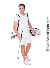 Golf Player Holding Bag With Clubs Isolated On White...