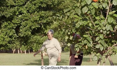 Fitness, old couple jogging