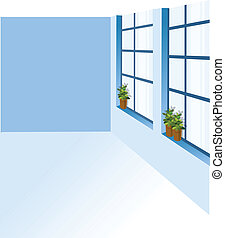 A potted plant on a window sill - this illustration is the...