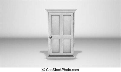White door and sunrise