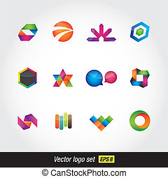 logo colorfull set - modern vector logo glossy colorfull set...