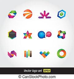 logo colorfull set - modern vector logo glossy colorfull set...