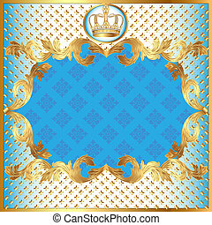 blue background for invitation gold pattern and crown