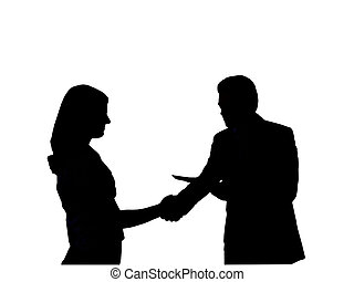Silhouette of the man shaking hand to young woman on the...