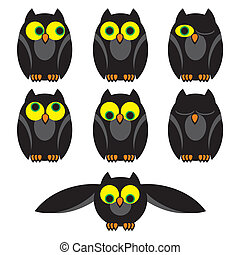 owls set - set vector image of owls