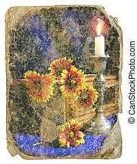 retro design Still-life - flowers and a candle - retro...