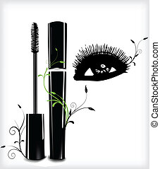 Ink for eyelashes with ornament and eye Vector illustration