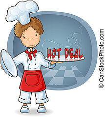 Chef holding plate with text Hot Sale - Cartoon illustration...