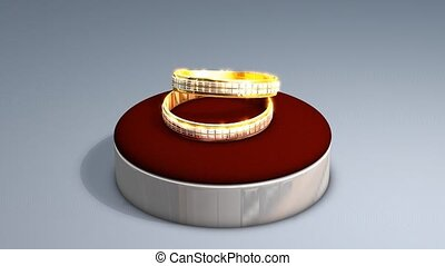 Wedding rings animation, alpha matte included.
