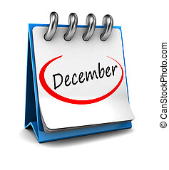 December - 3d calendar with word December isolated on white...