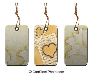 Gift tag in vintage style . Isolated on a white background.