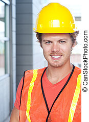 portrait of a young construction worker