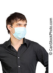 man in flu mask - young man in the flu mask isolated on...