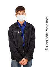 teenager in flu mask - teenager in the flu mask isolated on...