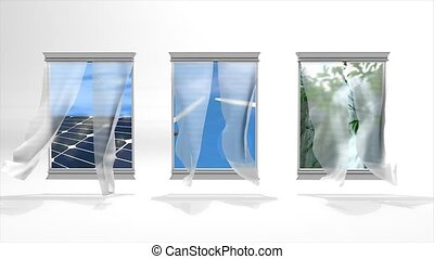 Windows to green energy - Renewable energy concept animation...