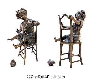 Antique bronze figurine depicting a girl sitting on a chair and playing with cat.