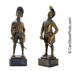 Antique bronze figurine depicting a whistling boy
