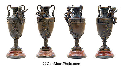 Two antique bronze vases with angel figure.