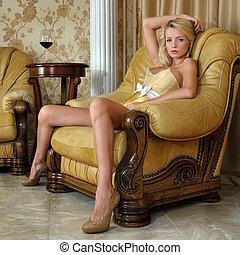 bonito, mulher, roupa interior, luxo, Interior