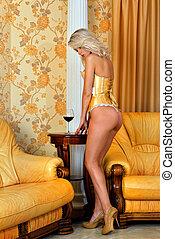 bonito, roupa interior, mulher, amarela, luxo,  Interior