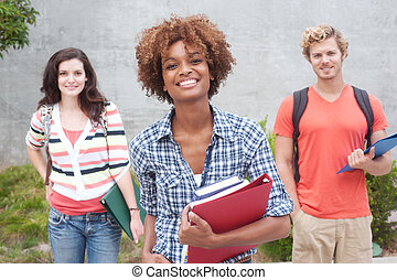 Happy group of college students - Happy group of students...