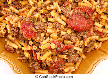 Ground Bison and Cheddar Macaroni - Cheddar Macaroni beef...