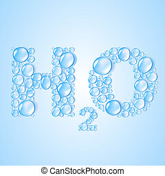 water drops H2O shaped - vector background - water drops H2O...