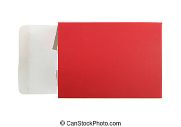 opened red package box isolated on white with clipping path