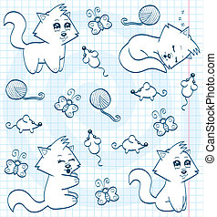 Cute cartoon cats coloring book - An illustration of very...