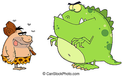 Caveman And Dinosaur - Caveman And Angry Dinosaur Cartoon...