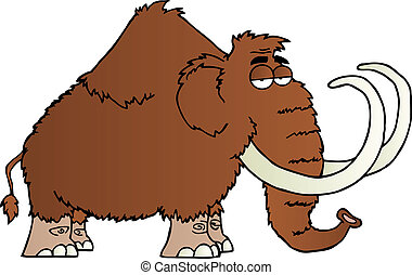 Mammoth Cartoon Character - Brown Mammoth Cartoon Mascot...