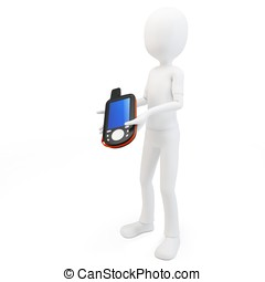 3d man with portable gps  device