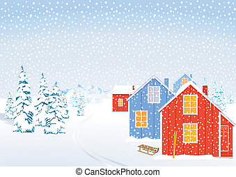 Winter landscape in snow