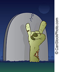 Zombie Grave - Zombie hand bursting through the grass in...
