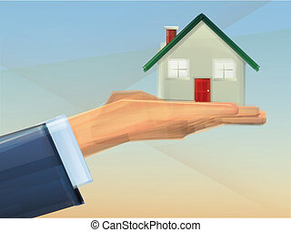 Home Ownership - House held in Hand Concept