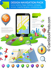 Navigation elements & icons kit - Map Design Template. All...