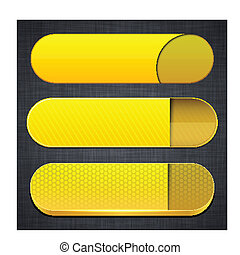Yellow high-detailed modern web buttons - Set of blank...