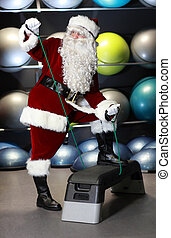 Santa Claus fitness program - Santa Claus working out in...