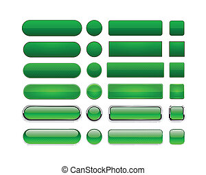 Green high-detailed modern web buttons. - Set of blank green...